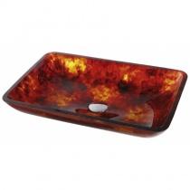 KRAUS Накладной стеклянный умывальник, 555х352 мм (огненный опал)  GVR-400-RE-15MM