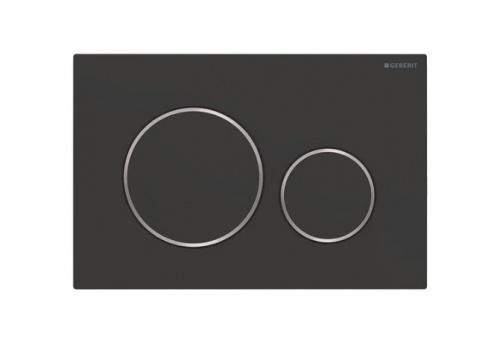 Смывная клавиша Geberit Sigma20, двойной смыв: с легкоочищаемой поверхностью черный матовый/хром глянцевый