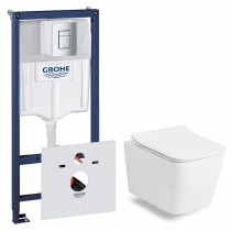Комплект 6в1: Grohe + Volle LIBRA RIM унитаз безободковый с крышкой SLIM и инсталляция 38772001