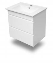 Volle FIESTA комплект мебели 600: тумба подвесная белая (2 ящика)+умывальник накладной