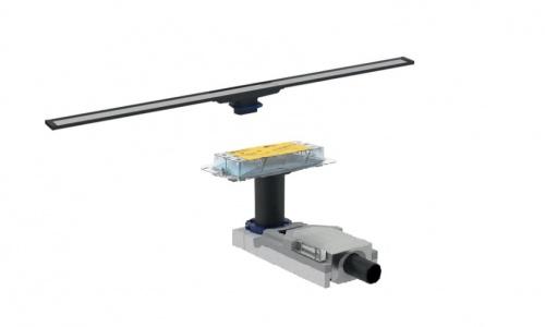 Корпус дренажного канала CleanLine, конструкции пола высотой от 65 мм + Дренажный канал CleanLine20, тёмный/матовый металл, L30-90см