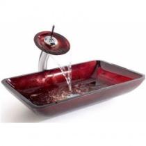 KRAUS Накладной стеклянный умывальник, 555х352 мм (красный)  GVR-200-RE-15MM