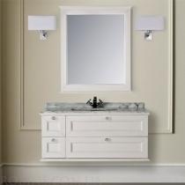 MOBILI DI CASTELLO Комплект Apollo - Шкаф подвесной c умывальником и зеркалом, матовый белый потертый 9210S-LGB