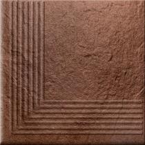 OPOCZNO Solar Brown Steptread Corner 3d - Ступень керамогранитная, наружная, коричневая, 30x30 см 301168