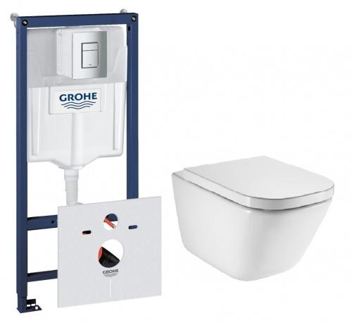 Комплект: инсталляция 4в1 GROHE + унитаз безободковый Roca GAP Clean Rim с крышкой Soft-Closing 38772001+A34H47C000