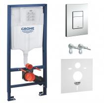 Grohe Rapid SL 38772001 инсталляция для унитаза 4в1, кнопка хром + подарок 37131000!