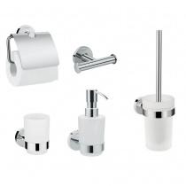 Hansgrohe LOGIS 41723111 набор аксессуаров: крючок двойной, диспенсер, держатель туалетной бумаги, стакан, туалетная щётка