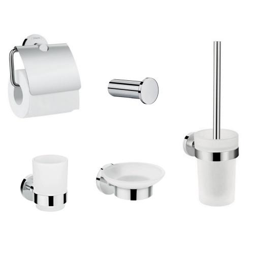 Hansgrohe LOGIS 41723333 набор аксессуаров: крючок, мыльница, держатель туалетной бумаги, стакан, туалетная щётка