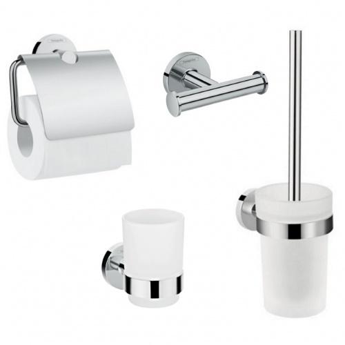 Hansgrohe LOGIS 41723444 набор аксессуаров: крючок двойной, держатель туалетной бумаги, стакан, туалетная щётка
