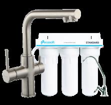 Комплект: Ecosoft Standart система очистки воды (3х ступенчатая) и IMPRESE Daicy смеситель для кухни на 2 воды, сатин  55009S-F+FMV3ECOSTD
