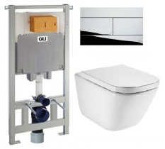 Комплект 6в1: инсталляция Oliveira OLI80 с унитазом Roca Gap Clean Rim A34H47C000+600174/107462