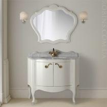 MOBILI DI CASTELLO Комплект Versailles - Шкаф напольный c умывальником и зеркалом, матовый белый потертый 9100-LGB