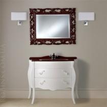 MOBILI DI CASTELLO Комплект Lyra 100 - Шкаф напольный c умывальником и зеркалом, матовый белый 9140-LOB