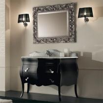 MOBILI DI CASTELLO Комплект Lyra - Шкаф напольный c умывальником и зеркалом, глянцевый черный 9060-LLN