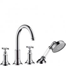 AXOR Montreux - Смеситель для ванны, на 4 отверстия, монтажна плитку, шлифованый никель 16544820