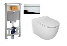 Комплект 6в1: унитаз c инсталляцией Roca MERIDIAN Rimless new + Oli80 107462 с сиденьем Slim slow closing