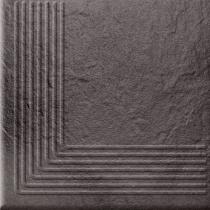OPOCZNO Solar Graphite Steptread Corner 3d - Ступень керамогранитная, наружная, чёрная, 30x30 см 301171