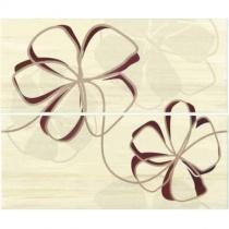 CERAMIKA COLOR Venus Cream Dekor - Декоративная плитка настенная, бежевая, цветы, 25x60 см 5903978223295