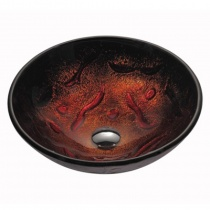 KRAUS Умывальник накладной из каленного стекла в красных и медных тонах, 419 мм GV-710-12mm