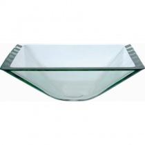 KRAUS Aquamarine Clear - Накладной стеклянный умывальник, прозрачный, 419х419 мм  GVS-901-19MM