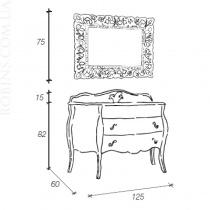 MOBILI DI CASTELLO Комплект Lyra - Шкаф напольный c умывальником и зеркалом, глянцевый бордовый 9060-LLX