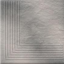 OPOCZNO Solar Grey Steptread Corner 3d - Ступень керамогранитная, наружная, серая, 30x30 см 301169