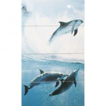 CERROL Porto Dolphins Komplet - Декоративная плитка настенная, дельфины, 25х60 см 508628