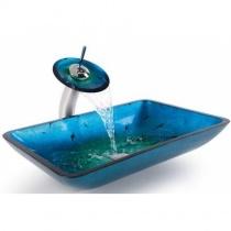 KRAUS Накладной стеклянный умывальник, 555х352 мм (голубой)  GVR-204-RE-15MM