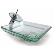 KRAUS Oceania Clear - Накладной стеклянный умывальник, прозрачный, 457х457 мм GVS-930-19MM